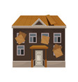 old house with broken roof and boarded up windows vector image vector image