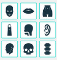 physique icons set with lip belly ear and other vector image