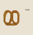 pretzel bakery hand draw sketch vector image vector image