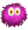 Purple pom-pom with happy face vector image vector image