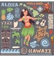 retro set hawaiian icons and symbols vector image vector image