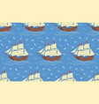 seamless pattern with sailboats and gulls vector image vector image