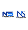 set initial letter ns logo template design vector image vector image