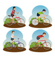set men and woman ride bicycle lifestyle vector image