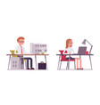 set of happy male and female clerk sitting at vector image
