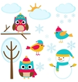 set winter elements vector image