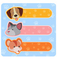 three banner designs with cute animals vector image