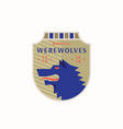 werewolves medieval sports team emblem abstract vector image