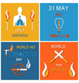world no tobacco day banners set refuse nicotine vector image vector image