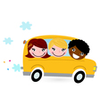 Yellow school bus with kids isolated on white vector image vector image