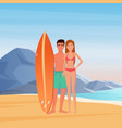 young couple surfers on sea rocks background vector image