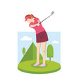 young woman playing golf vector image