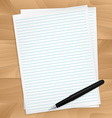 Papers and pen on wood desk vector image