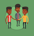 group of businessmen joining hands vector image