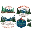 set template in retro style with mountains spruces vector image