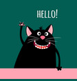 greeting card with smiling cartoon cat vector image