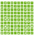 100 events icons set grunge green vector image vector image