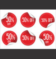 50 percent off red paper sale stickers vector image vector image