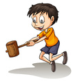 A young man holding a wood vector image vector image