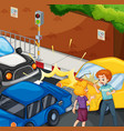 accident scene with people and car crash vector image
