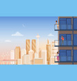 apartment balcony with city view vector image