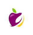 apple organic fruit logo vector image vector image