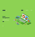 asset management isometric landing page analytics vector image vector image