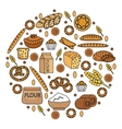 Bakery products icon set in a round shape line vector image vector image