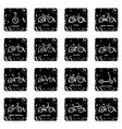 bicycle types icons set grunge vector image vector image