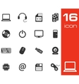 black Computer icons set on white background vector image