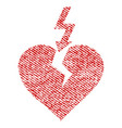 break heart fabric textured icon vector image vector image