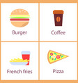 burger and french fries set vector image
