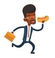 Businessman eating hot dog vector image vector image