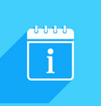 calendar icon with information sign vector image vector image