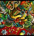 cartoon cute doodles happy new year frame vector image vector image