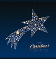 christmas and new year copper shooting star card vector image vector image