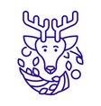 christmas reindeer and wreath linear icon in blue vector image
