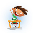 clever cartoon school boy sitting at the desk vector image