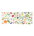 collection various vegetables isolated on white vector image vector image