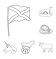 country scotland outline icons in set collection vector image vector image