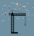 crane with under construction equipment vector image vector image