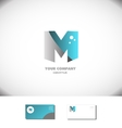Creative letter M logo alphabet icon blue grey vector image vector image