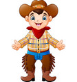 cute happy boy wearing a cowboy costume vector image