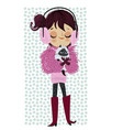 cute winter girl with cat vector image vector image