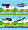 four background with airplane flying vector image vector image