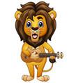 funny lion cartoon playing guitar vector image