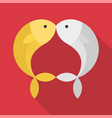 gold and silver fish kissing on red background vector image vector image