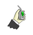 hand of businessman holding uht milk of idea vector image vector image