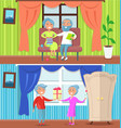 happy older people at home set of vector image vector image