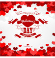 happy valentines day background with red hearts an vector image